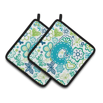 Letter C Flowers and Butterflies Teal Blue Pair of Pot Holders CJ2006-CPTHD