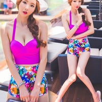 Push Up Strappy Crop Top and High-Waisted Floral Bandage Bottom Swimsuit