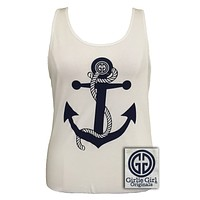 Sale Girlie Girl Rope Bella Anchor Comfort Colors White Bright Tank Top Shirt