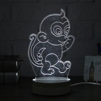 3D Monkey Shape LED Night Light Table Desk Acrylic Lamp Kid Gift Home Decor