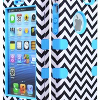 Bastex Hybrid Case for Apple Iphone 5, 5S - Baby Blue Silicone with Hard Black & White Chevron Pattern Shell