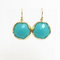 Pacific, Ocean, Glass, Mint, Earrings, Blue, Glass , Earrings, Dangle, Drop, Goldfilled, Hook, Earrings, Gold, Jewelry, Simple, Modern