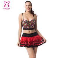PLUS SIZE BRALETTE BUSTIER BRA PUSH UP RAINBOW GEM STUD BRAS FOR WOMEN UNDERWEAR BURLESQUE CLUB DANCEWEAR PUNK RAVE BRASSIERE
