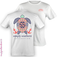 Preppy Simply Southern Sea Turtle T-Shirt on White