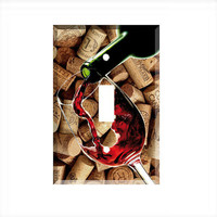 Light Switch Cover - Light Switch Plate Red  Wine Cork Stoppers Kitchen Decor