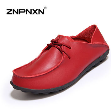 New Design 2016 Women Shoes Genuine Leather Handmade Flats Shoes Women Oxfords Casual Mother Shoes Zapatos Mujer Red