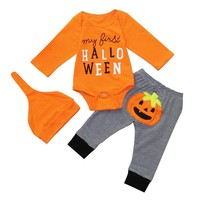 Baby Girl Boy Clothes Halloween Winter Newborn Set  Letter Pumpkin Romper Jumpsuit+Pants Baby Clothes 18Jul25