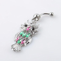 Cute Owl Crystal Rhinestone Navel Belly Button Barbell Ring Body Piercing 03