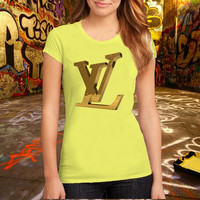 louis_vuitton_golden_logo T Shirt Printed T Shirt, Women T Shirt, (Various Color Available)