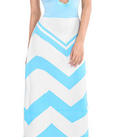 Waves Print Strappy Maxi Dress