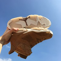 [Free Shipping]Air Jordan Retro 6 VI Wheat Golden Harvest/Sail 384664-705  Basketball Sneaker