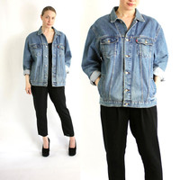 Vintage 80's Levi's Blue Faded Denim Jean Slouchy Oversized Jacket Blazer