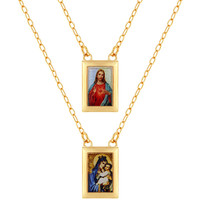 """18k Gold Plated Religious Scapular Necklace Sacred Heart Jesus Virgin Mary 24"""""""