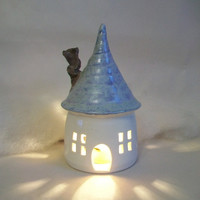 Fairy House/ Night Light - with a  Blue/Aqua Roof