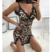 Sexy nightclub new leopard lace stitching sexy suspender dress