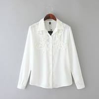 White Appliques Lace Long-Sleeve Button Collared Chiffon Shirt