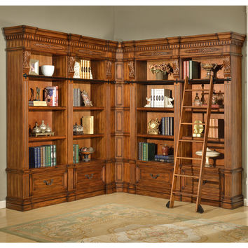 Grand Manor Granada Museum Library Corner Bookcase 5 Pc Antique Vintage Walnut