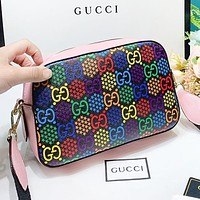 GUCCI New fashion multicolor more letter leather shoulder bag crossbody bag