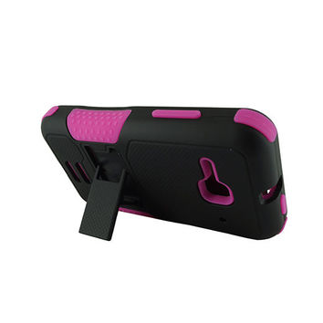 Alcatel OT4037T (One Touch Evolve 2) Black PC + Hot Pink Silicone Armor Case w/Stand