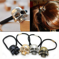 1PC Halloween Retro Punk Gothic Metal Skull Hair Tie Fashion Birds Crow Skull Elastic Hair Bands Hair Accessories Jewelry
