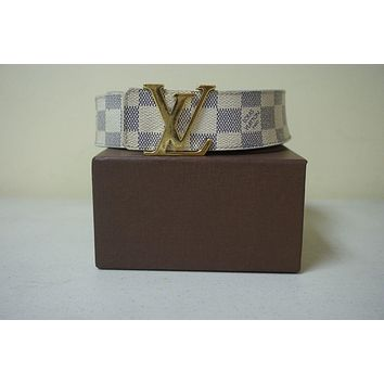 Authentic Louis Vuitton Checkered Belt Gold Buckle Size 90/36 With Box GUC (c17)