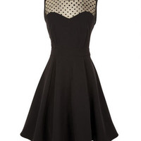 Illusion Dot Fit And Flare Dress
