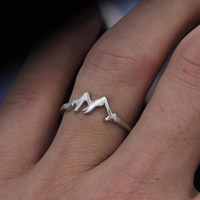 Mountain Range Ring Nature Motivation Jewelry Hiking Snowboard Lover Gift