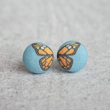 Butterfly Wings Fabric Button Studs