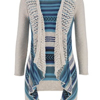 Open Stitch Mixed Stripe Hooded Cardigan - Aqua Crush Combo