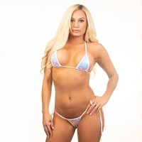 Micro Tie Side Thong - Hollywood Iridescent - White