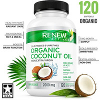 Organic Coconut Oil Capsules DOUBLE STRENGTH 2000mg!  for Hair Growth, Radiant Skin & Natural Weight Loss - Non-GMO, Unrefined Cold Pressed Coconut Oil Rich in MCFA and MCT