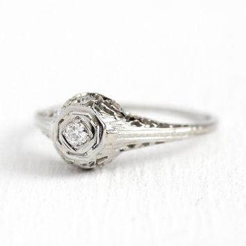 Filigree Engagement Ring - Vintage 18k White Gold Art Deco .08 CT Diamond Solitaire - 1920s Size 7 1/2 Antique Open Metal Fine Jewelry