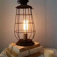 Brown Rustic Lantern Lamp shabby light home decor industrial furniture lighting Edison bulb photo prop side table primitive chicken wire