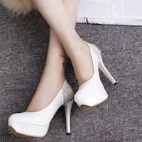 High heels bridal shoes woman zapatos mujer Rhinestone wedding shoes ladies shoes women pumps women shoes casual high heel White