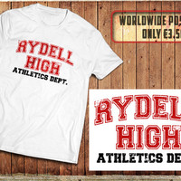 Rydell High T-Shirt. inspired by the Grease Movie, 50's High School sports shirt.