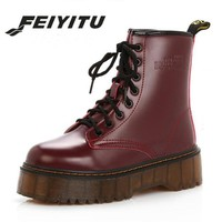 feiyitu High quality platform autumn and winter add cotton warm motorcycle boots martin boots women's punk ankle boots size