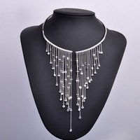 India Charmful Zircon Women Torques Choker Necklace With Long Tassel Pendant Gol