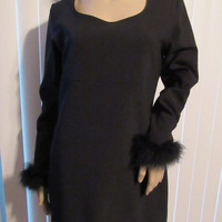 Vintage Minimalist Black Long Sleeve Feathers / LBD / Special Occasion Dress / Sexy Ostrich Feather Attire