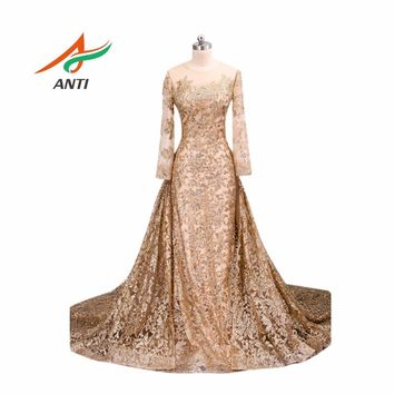 ANTI Women Plus Size Glisten Prom Dresses Bling Bling Lace Vestidos De Festa Detachable Train Mermaid Party Gowns Floor-Length