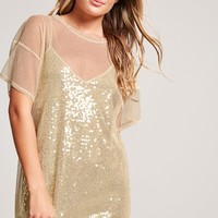 Mesh Sequined Combo Dress