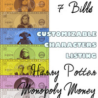 CUSTOMIZABLE ORDER// Harry Potter Monopoly Money, Instant Digital Download - Money Only