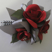 Red Satin Handmade Roses and Buds with Grey Pearl and Rhinestone Bracelet Wrist Corsage Bracelet Prom Homecoming Weddings Custom Ordered