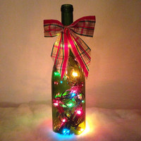 Holly leaves wine bottle lamp, Christmas lights, Christmas decorations, bottle light, accent lamp