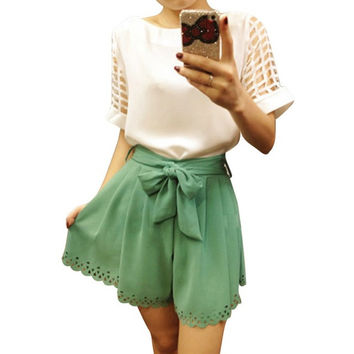 2017 Summer Chiffon White Top  Cute Cut Out Sleeves! Plus Size!