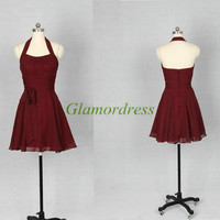 Burgundy chiffon bridesmaid dresses,affordable bridesmaid gowns,halter prom gowns,simple dress for wedding party.