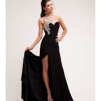 2014 Prom Dresses - Black Jersey & Paisley Stone Gown