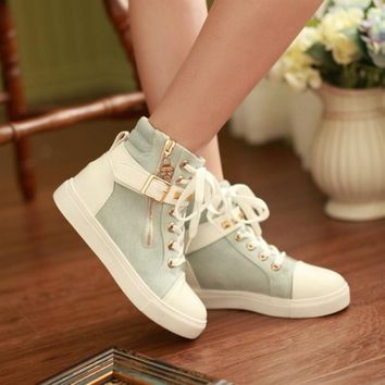 Womens High Top Rock Skull Zip Lace Up Rivet Strap Trainer Sneakers Ankle Boots