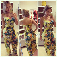 Women Flower Printed Yellow Sexy Round Neck Strappy Jumpsuit Sexy Slim Bodysuit Pants = 5617102977
