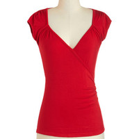 Nautical Short Length Cap Sleeves Seemingly Sew Top in Red