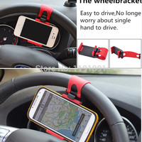 Car Accessories Universal Car Steering Wheel Mobile Phone Holder Bracket for iPhone 6 plus 4 5 5S Galaxy S4 S5 GPS HTC MP4